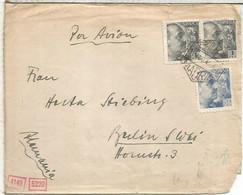 MADRID  CC A BERLIN 1945 MAT CORREO AEREO CON CENSURA MILITAR MADRID Y ALEMANA DE MUNICH - 1931-50 Lettres