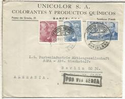 BARCELONA  CC A BERLIN 1939 CORREO AEREO SELLOS FRANCO PERFIL MAT ESTAFETA 1 - 1931-50 Lettres