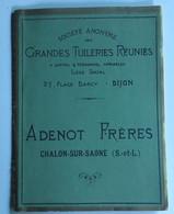 Catalogue Publicitaire Grandes Tuileries Réunies ADENOT Chalon Sur Saone - Advertising