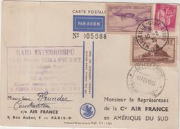 """FRANCE : PA . ADRESSEE A CiE AIR FRANCE . """" RAID INTERROMPU 17 FEVRIER 1935  """" . ( Qq DEFAUTS ) . - Correo Aéreo"""