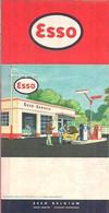 ESSO - CARTE ROUTIÈRE (DOUBLE FACE) BELGIQUE Et LUXEMBOURG - ÉCHELLE 1:420.000 (1961) - Roadmaps