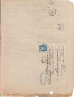"""Oblit. - Losange Gros Chiffres """"174"""" - Arras - Sur Facture H. De Bray - Raffinerie De Pétrole Et épuration Essence - 1849-1876: Klassik"""