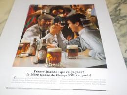ANCIENNE PUBLICITE FRANCE IRLANDE QUI VA GAGNEZ BIERE GEORGE KILLIAN  1984 - Advertising