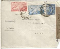 BARCELONA A SUIZA POR AVION CON CENSURA GUBERNATIVA SELLOS LACIERVA Y FRANCO PERFIL SANCHEZ TODA - 1931-50 Lettres
