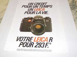 ANCIENNE PUBLICITE UN CREDIT POUR UN TEMPS LEICA 1983 - Advertising