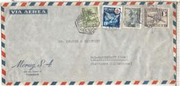 TANGER 1951 CC A ALEMANIA CORREO AEREO FRANQUEO MIXTO SELLO PRO TUBERCULOSOS - Spanisch-Marokko