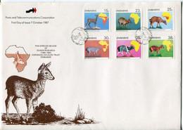 Zimbabwe Mi# 368-73 Used On Official FDC - Fauna - Zimbabwe (1980-...)