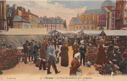 DIEPPE - La Place Nationale Un Jour De Marché - Dieppe