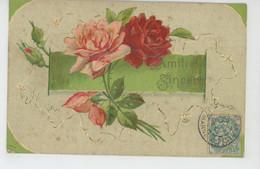 """FLEURS - Jolie Carte Fantaisie Gaufrée Fleurs Roses """"Amitié Sincère """" (embossed Postcard) - Blumen"""
