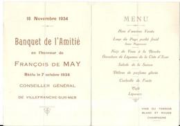 VILLEFRANCHE SUR MER .BANQUET POUR FRANCOIS DE MAY . 1934 - Menu