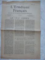 Journal L'étudiant Français Janvier 1944 Organe Des étudiants D'action Française Imprimerie Audin Gérant F. Daudet - Autres
