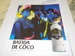 ANCIENNE  PUBLICITE COCKTAIL BLANC BATIDA DE COCO  1987 - Alcohols