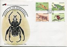 Zimbabwe Mi# 374-7 Used On Official FDC  - Fauna Insects - Zimbabwe (1980-...)