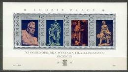 POLAND MNH** Bloc 52 SCULPTURES POLONAISES. ART. METALLURGISTE TRAVAILLEUR MINEUR MINE MOISSONNEUSE - Blocks & Sheetlets & Panes