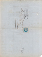 """Oblit. - Losange Petits Chiffres """"2273"""" - Niort - Sur Facture Cadiot Frères - Filature Hydraulique De Crins Frisés - 1849-1876: Klassik"""
