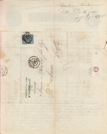 """Oblit. - Losange Gros Chiffres """"3982"""" - Toulouse - Sur Facture J. Caubère - Manufacture De Plumes Et Duvets - 1849-1876: Klassik"""