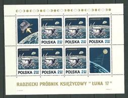 POLAND MNH ** Bloc 54 LUNA 17 VEHICULE LUNOKHOD I Espace - Blocks & Sheetlets & Panes