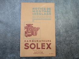 Carburateurs SOLEX - Notice De Montage & Réglage (28 Pages) - Voitures