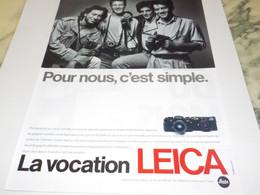 ANCIENNE PUBLICITE POUR NOUS C EST SIMPLE  LEICA 1987 - Fotografía