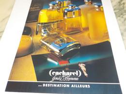 ANCIENNE  PUBLICITE PARFUM POUR HOMME DE CACHAREL  1987 - Perfume & Beauty