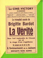 Programme De Cinema  : Le Ciné Victory FLORENNES 1961 La Verité BRIGITTE BARDOT . Le CAPTAN  JEAN MARAIS ET BOURVIL - Programme