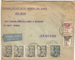 CORUÑA CC CORREO AEREO A NEW YORK 1941 MAT AVION Y CENSURA GUBERNATIVA CORUÑA SELLOS FRANCO PERFIL - 1931-50 Lettres