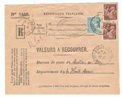 DEVANT De LETTRE Rec. RENE LONCLAS PONTHION VITRY Le FRANCOIS 1945 - VALEURS à RECOUVRER 1488 - IRIS 653 + MERCURE 538 - 1921-1960: Periodo Moderno