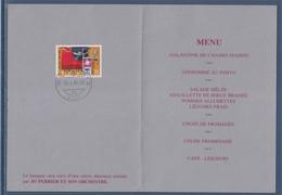 Encart Double Menu Banquet Jumelage Monthey-Grenoble 20.4.85 1 Timbre Monthey 20.4.85 - Suisse