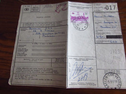 Lettre De Voiture Oblitérée De La HALTE De BAELEN-SUR-VESDRE En 1968 Timbre Chemin De Fer N° 377 - Storia Postale