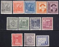 Andorra Española 1948-53. Tipos Diversos. Numeración EDIFIL 45 Al 56 - Andorra Española