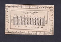 Carte Publicitaire Maison Arthur Maury  Instructions Sur La Maniere De Mesurer Les Perforations D'un Timbre Philatelie - Advertising