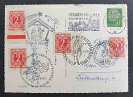 Österreich PORTO 1958, Postkarte MiF  Sonderstempel WIEN - 1945-60 Storia Postale