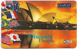 Australia - CardCall - Australian Scenery, Sydney Opera House & Flags (Big Voice No.), Remote Mem. 20$, Used - Australie
