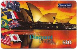 Australia - CardCall - Australian Scenery, Sydney Opera House & Flags (Small Voice No.), Remote Mem. 20$, Used - Australie