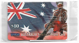 Australia - CardCall - Aboriginal With Digeridoo, Aboriginal & Flag, Remote Mem. 10$, NSB - Australie