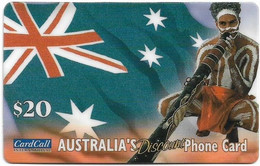 Australia - CardCall - Aboriginal With Digeridoo, Aboriginal & Flag, Hard Plastic Remote Mem. 20$, Used - Australie