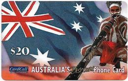 Australia - CardCall - Aboriginal With Digeridoo, Aboriginal & Flag, Thin Plastic Remote Mem. 20$, Used - Australie