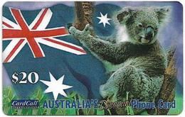 Australia - CardCall - Australian Animals, Koala & Flag, Thin Plastic Remote Mem. 20$, Used - Australie