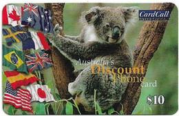 Australia - CardCall - Australian Animals, Koala & Many Flags, Thin Plastic Remote Mem. 10$, Used - Australie