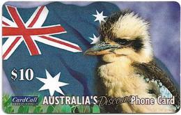 Australia - CardCall - Australian Animals, Kookaburra & Flag, Thin Plastic Remote Mem. 10$, Used - Australie