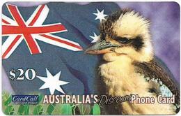 Australia - CardCall - Australian Animals, Kookaburra & Flag, Thin Plastic Remote Mem. 20$, Used - Australie