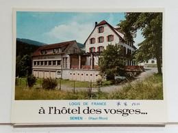 68 - SEWEN - A L'HOTEL DES VOSGES - DÉPLIANT PUBLICITAIRE 3 VOLETS - TRES BEL ETAT - Advertising