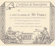 CERTIFICAT DE SOUSCRIPTION PHILEXFRANCE 89 (KP680 - Eintrittskarten
