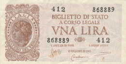 BIGLIETTO DI STATO UNA LIRE ITALIA VF (KP698 - [ 1] …-1946: Königreich