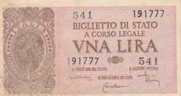 BIGLIETTO DI STATO UNA LIRE ITALIA VF (KP700 - [ 1] …-1946: Königreich
