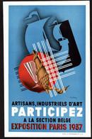 Affichette Publicitaire 1937 STERCKX Suz. - Artisans Participez à La Section Belge De L'Exposition De Paris - Voir Scan - Advertising