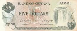 BANCONOTA 5 DOLLARI GUYANA -RIPARATA NASTRO F (KP716 - Guyana