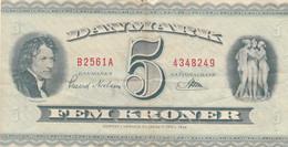 BANCONOTA DENMARK 5 FEM KRONER 1936 VF (KP732 - Danimarca