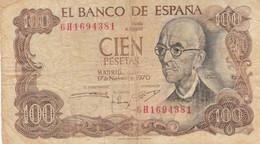 BANCONOTA SPAGNA 100 PESETA 1970 VF (KP771 - [ 3] 1936-1975: Regime Van Franco