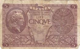 BIGLIETTO DI STATO LIRE 5  ITALIA F (KP792 - [ 1] …-1946: Königreich